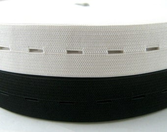 5 Meters x 16mm Flat Buttonhole Elastic (Black or White) or (5.5 Yards x 5/8 Inch)