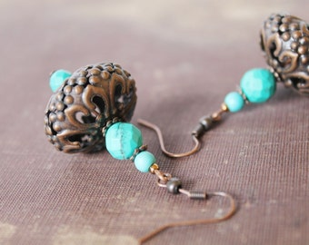 Turquoise Copper Earrings Turquoise Dangle Earrings Ethnic Tribal Earrings Summer Jewelry