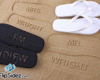 MR and MRS Bridal Flip Flops - Personalized Sand Imprint Flip Flops  (listing is for ONE pair) *Check size chart before ordering*