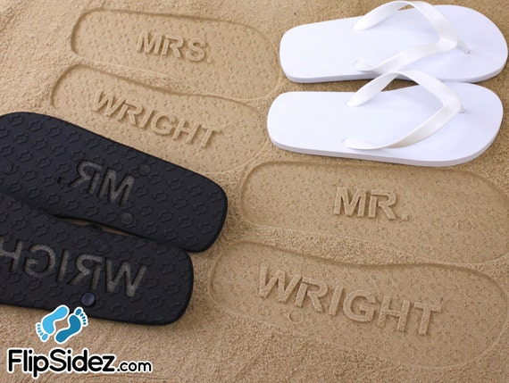 MR and MRS Bridal Flip Flops - Personalized Sand Imprint Flip Flops *Check size chart before ordering*