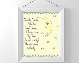 Nursery Rhyme - Twinkle Twinkle Little Star - Vintage Nursery Print - Children Wall decor - Illustration - Classic - gender neutral