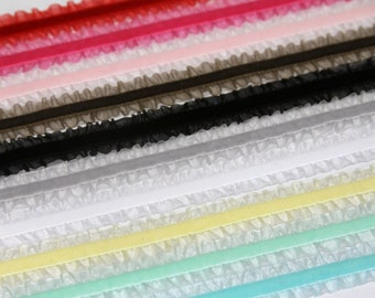 Double Ruffle Velvet Elastic for Baby Headbands - 10 yards - You choose Colors