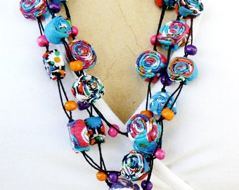 Bohemian Textile Necklace, Gypsy Soul, Long Layered Necklace, Gift for girlfriend Handmade bright neck Turquoise Mauve Pink Purple Orange