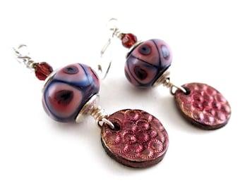 Lampwork Glass Dangle Earrings - Pink and Purple Earrings - Embossed Polymer Clay Earrings - Handmade Artisan Earrings - SRAJD 3955