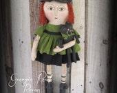 Primitive Halloween Witch Doll > Black Cat >Handmade Folk Art Witch Doll