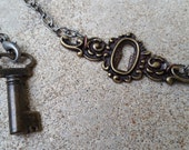 Lock and Key Matching Necklace and Bracelet Set - Bronze Lock Necklace and Bronze Key Bracelet