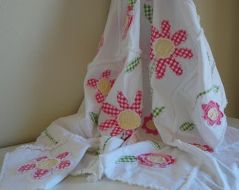 Crib Rag Quilt Baby Girl Crib Bedding Shabby Chic Pink and White