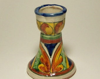 HAND PAINTED CANDLESTICK - Polychrome Glazed Pottery - Made In Mexico