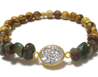 Tiger Eye Beaded Bracelet with Green Opal Nuggets and Gold Edged Silver Druzy and Gold Spacers