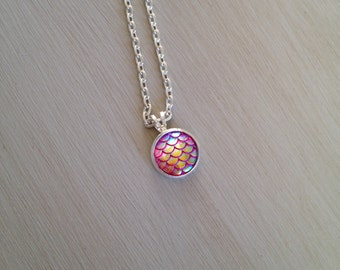 HOT PINK mermaid scale necklace