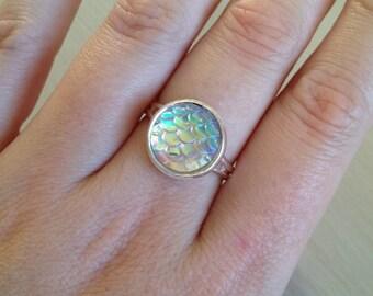 OPAL PEARL WHITE mermaid ring / dragon ring