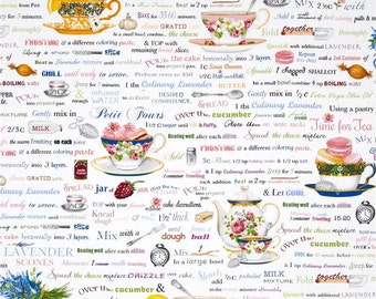 Robert Kaufman - Kiss the Cook - Tea and Cookies - White - Novelty Fabric-Choose Your Cut 1/2 or Full Yard