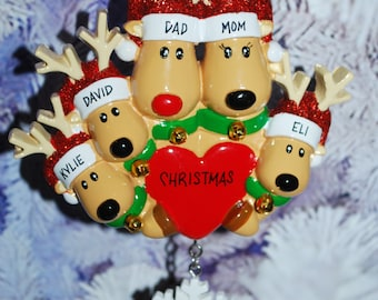 Personalized Family of 5 Reindeer Christmas Ornament