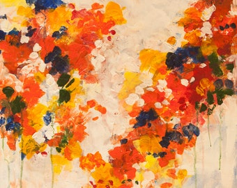 """Fun Blossoms-Original Acrylic painting-22""""x 28"""" -Bright,colorful floral art"""