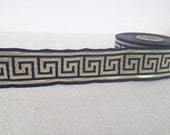 33 mm navy blue and gold Jacquard ribbon, Embroidered border, Sewing trim, Embroidered ribbon, blue and gold Greek key Jacquard trim