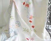 Embroidered towel-rail cover, vintage Swedish embroidery, vintage satin stitch embroidery, kitchen towel cover