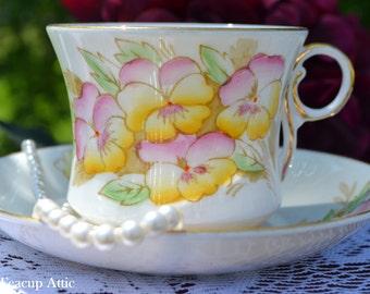 Phoenix  Hand Painted Teacup and Saucer, English Bone China Tea Cup Set, Garden Tea Party, ca 1912-1959