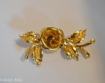 Gold Colored Vintage Rose Brooch, Vintage Fashion Accessory Pin, ca. unknown