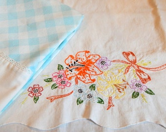 Vintage Pillowcases Embroidered Floral BLue Gingham Muslin Pillowcases Standard  Queen Bedroom Linens