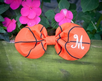Monogrammed basketball fabric hair bow - finished bow