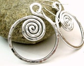 Wire Jewelry Wire Wrapped Jewelry Handmade Spiral Earrings Silver Earrings Aluminum Wire Earrings Aluminum Jewelry