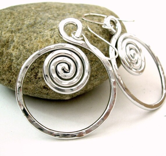 Wire Wrapped Jewelry Handmade Silver Wire Earrings Silver Spiral Earrings Aluminum Wire Jewelry Aluminum Earrings Hoop Earrings Lightweight