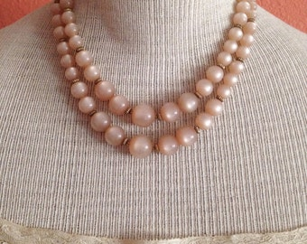 Free Shipping: Vintage 50s/60s Double Strand Necklace - Moonglow Camel Colored Lucite Beads