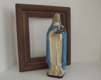 Vintage St. Therese of Lisieux, St. Theresa of the Child Jesus, The Little Flower, French Plaster, Circa 1920's