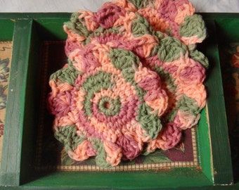 Hand Crocheted Mug Mats, Four Multi-Colored Round Crocheted Coasters