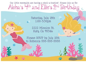 Mermaid / Under the Sea Themed Birthday Invitation
