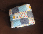 Baby Quilt.  Adventure Time Patchwork Flannel and Minky Baby Quilt, with Choo Choo Trains and Hot Air Balloons. Bright Blues, Yellow and Red