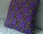 Pillow, Cushion, Teenager's Room, Hand Knitted, Purple, Polka Dots, Spots, UK Seller, Grey,