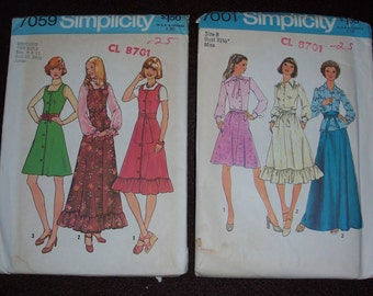 1970's Retro Clothing Patterns...Simplicity 7059...Simplicity 7001..Sizes 8..9&11...Vtg 70's Misses Skirt..Blouse..Jumpers..Maxi Skirts