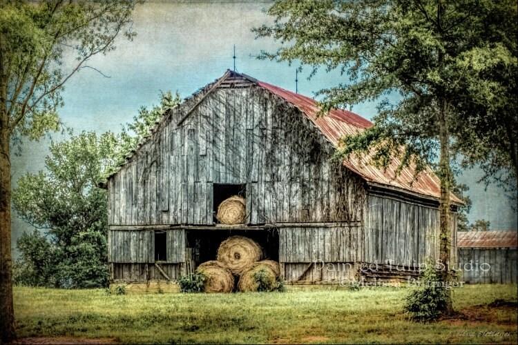 Rustic barn red metal roof grey barn hay by paintedtulipstudio for Red metal barn