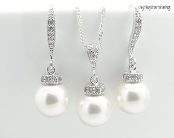Pearl Bridal Earrings and Necklace Set Swarovski Crystal WHITE Pearls Dangle Earrings Bridesmaid Gift Pearl Jewelry Set