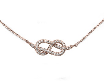 Small Infinity Necklace, Diamond Pendant Necklace, Rose Gold Necklace, Infinity Knot Necklace, Gold Pendant, Delicate Necklace