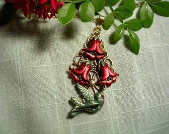 Hand Painted Hummingbird and Red Trumpet Vine Necklace