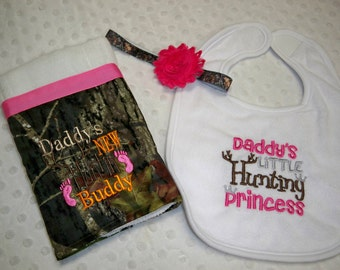 Camo & Hot Pink 3 Piece Baby Girl Gift Set Includes Burp Cloth, Headband, and Daddy's Little Hunting Princess Bib - Baby Girl Camo and Pink