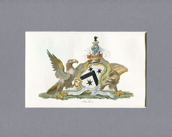 1790 Original Antique Hand Painted Engraving of the Peterboro Coat of Arms - White headed Eagles - Black Slave - Black Stars - England