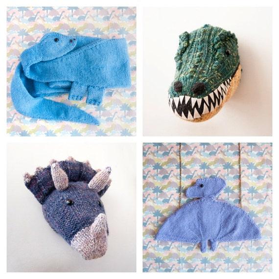 Dinosaur Scarf Knitting Pattern : PDF Knitting Patterns Prehistoric Pals Collection Four