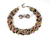 Vintage Multi-Strand Necklace and Earrings