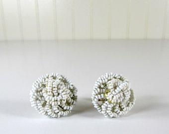 Vintage White Seed Bead Earrings