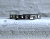 Amazing Vintage Platinum Pave Diamond Full Eternity Wedding Band - 0.63ct.
