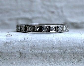 RESERVED - Amazing Vintage Platinum Pave Diamond Full Eternity Wedding Band - 0.63ct.