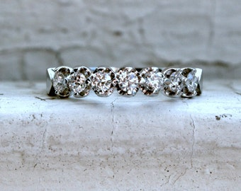 RESERVED - Sparkly Vintage 14K White Gold Diamond Shared Prong Set Wedding Band - 0.49ct.