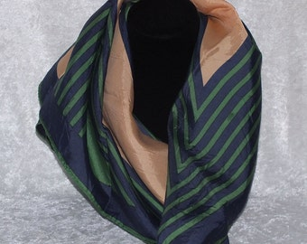 Navy Blue, Green and Gold Scarf