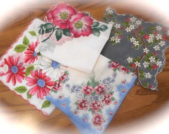 Vintage Floral Hankies, Pink, Blue and Gray Handkerchiefs, Set of 4