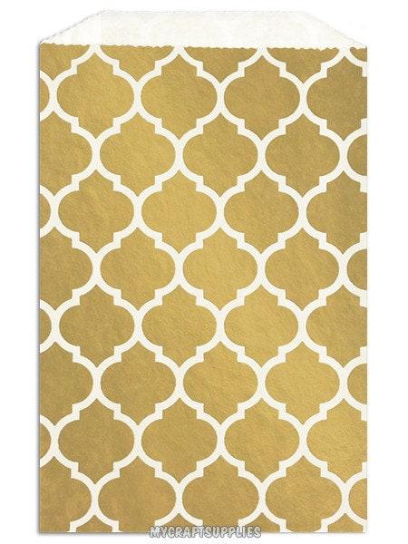 100 Metallic Gold Morrocan Tile Favor Bags 5 X 7 5 Inch Flat