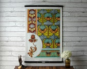Vintage Art Nouveau Botanical Pull Down Chart Reproduction with Canvas Print and Oak Wood and Brass Hanger / Crown Imperial