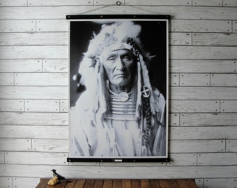 Vintage Native American Portrait Pull Down Chart Reproduction with Canvas Print and Oak Wood Poster and Brass Hanger / Young Hairy Wolf